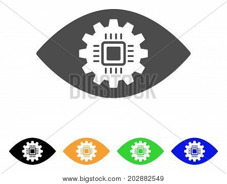 Cyborg Eye Lens vector pictograph. Style is a flat graphic symbol in grey, black, yellow, blue, green color versions. Designed for web and mobile apps.