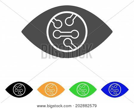 Digital Eye Lens vector pictograph. Style is a flat graphic symbol in grey, black, yellow, blue, green color versions. Designed for web and mobile apps.