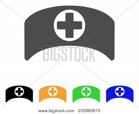 Doctor Cap vector pictograph. Style is a flat graphic symbol in grey, black, yellow, blue, green color versions. Designed for web and mobile apps.