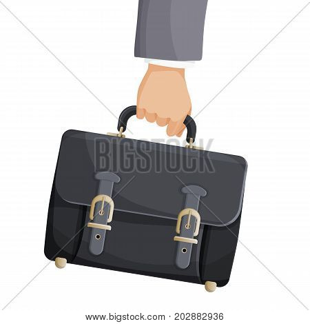 Briefcase in businessman hand vector illustration isolated on white background. Narrow hard-sided box-shaped bag or case used for carrying papers and documents and equipped with a handle