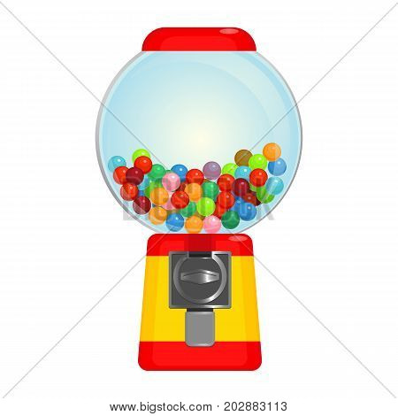 Sphere gumball machine container with sweet candies vector illustration isolated on white background. Chewing gums for children in bubblegum device