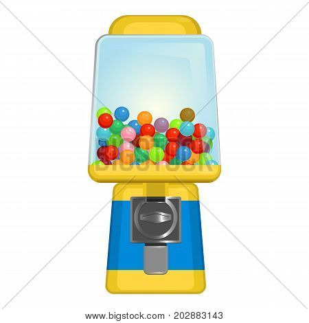 Gumball machine with square display in yellow and blue colors vector illustration isolated on white background. Container with sweet candies
