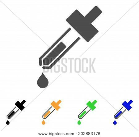 Dropper vector pictograph. Style is a flat graphic symbol in gray, black, yellow, blue, green color versions. Designed for web and mobile apps.