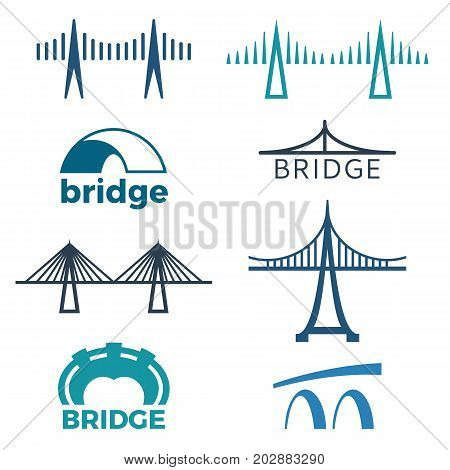 Bridge logos collection of isolated vector illustrations with inscriptions depicting structures of various types on white background.