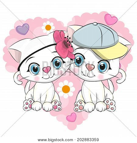 Two Cute Cartoon Kittens on a background of heart