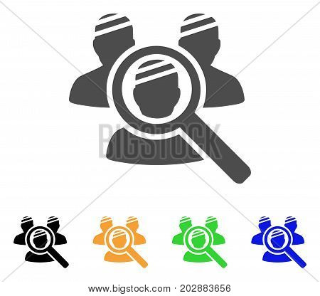 Explore Patients vector pictogram. Style is a flat graphic symbol in gray, black, yellow, blue, green color versions. Designed for web and mobile apps.