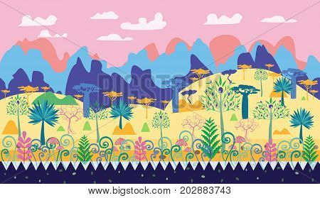 A beautiful magic forest scene illustration fantasy forest template with trees mushrooms mountain. Cartoon natural landscape for game illustration