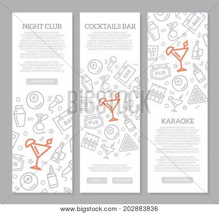 Set of three digital night club and cocktail bar vertical banners with icon pattern. Vector illustration