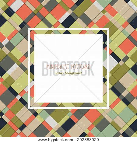 Simple flyer design. Diagonal lines and shapes. Colorful. Orange and green. Abstract background. Plain concept for postcard, invitation or poster. Can be used as seamless pattern.