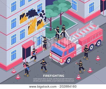 Group of firefighters putting out fire 3d isometric vector illustration