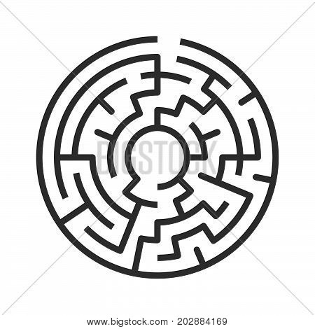 Circular maze isolated on white background. Challenge, problem, confusion and solution concept. Flat design. EPS 8 vector illustration, no transparency, no gradients