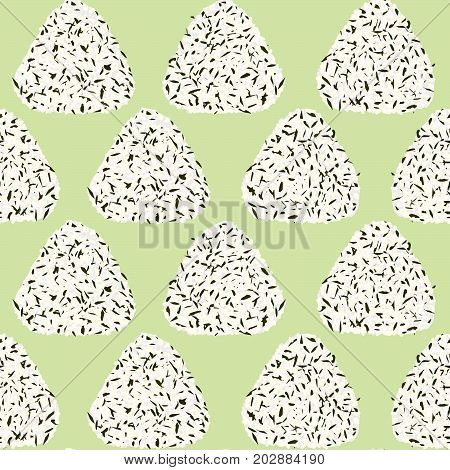 Onigiri seamless pattern. Japanese sticky rice ball with wakame seaweed pieces. Lunch texture. Triangle asian snacks. For wallpaper, pattern fills.