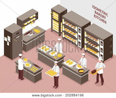 Five bakers working in spacious bakery kitchen 3d isometric vector illustration
