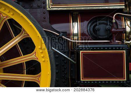 Close up of antique steam engine detail