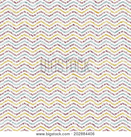 Abstract wavy texture. Scratched seamless pattern. Yellow, pink and blue waves. Pastel colors. Plain backdrop for decoration, wallpaper, web page.
