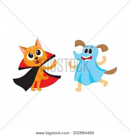 vector flat cartoon funny cat dressed up like vampire count Dracula, dog ghost in bedsheet set. Isolated illustration on a white background. Fancy Halloween outfit for an animal concept
