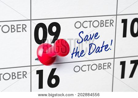 Wall Calendar With A Red Pin - October 09