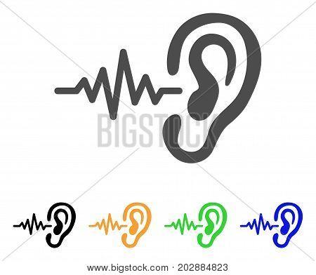 Hearing Signal vector pictograph. Style is a flat graphic symbol in grey, black, yellow, blue, green color versions. Designed for web and mobile apps.