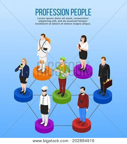 Profession isometric set of uniformed people characters on podiums connected by dashed lines with editable text vector illustration