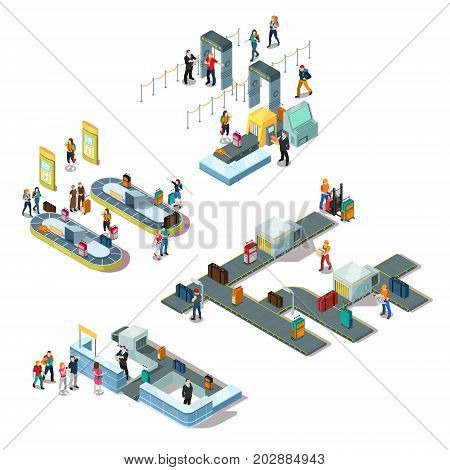 Airport isometric compositions with tourists during registration, near baggage carousel, staff sorting luggage isolated vector illustration