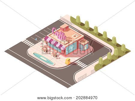 Cafe outside view isometric design with signage, street tables under umbrellas, pond, parking, road infrastructure vector illustration