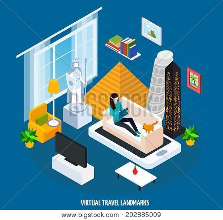 Colored virtual travel landmarks museum isometric concept with visit museum while sitting at home on couch vector illustration