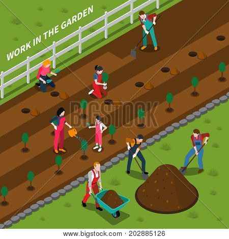 Gardening isometric composition with rural landscape and young people involved in planting seedlings vector illustration