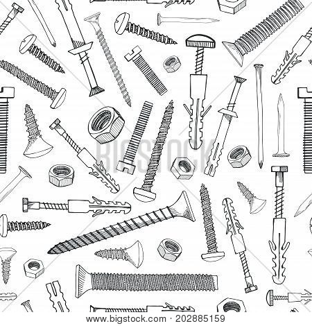Seamless pattern with different tools. Different fastener on white background. Hand drawn vector illustration of a sketch style.