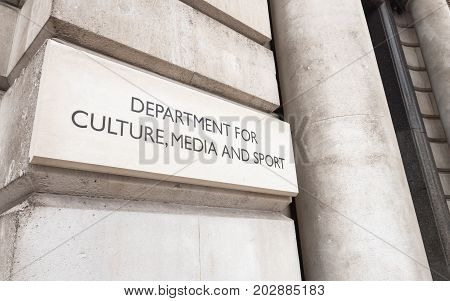 A sign outside the UK government building for the Department for Culture Media and Sport on London's Whitehall.