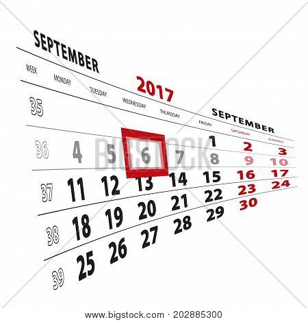 6 September Highlighted On Calendar 2017. Week Starts From Monday.