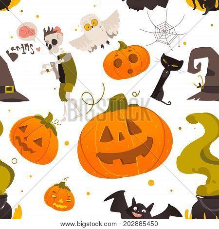 Seamless pattern of Halloween objects - pumpkin, zombie, bat, cat, bat, spider web, cauldron, pointy hat, cartoon vector illustration on white background. Seamless pattern of cartoon Halloween objects