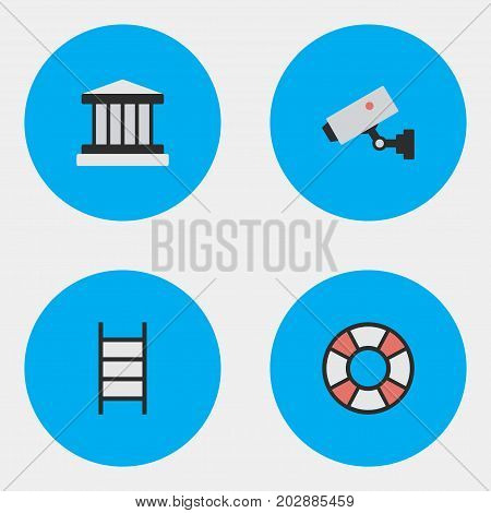 Elements Supervision, Grille, Lifesaver And Other Synonyms Court, Jail And Climbing.  Vector Illustration Set Of Simple Criminal Icons.