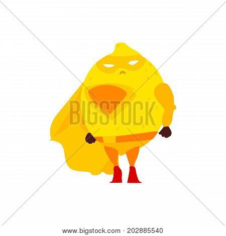 Funny lemon fruit hero, superhero character, guard, defendor, flat style cartoon vector illustrations isolated on white background. Lemon fruit hero, superhero character in mask and cape