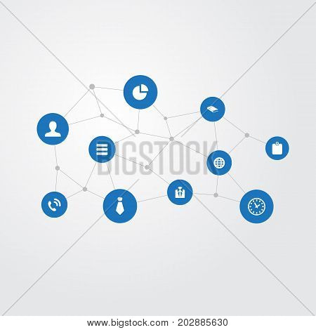 Elements Personal Badge, Cravat, Hotline And Other Synonyms Communication, User And Dress-Code.  Vector Illustration Set Of Simple People Icons.