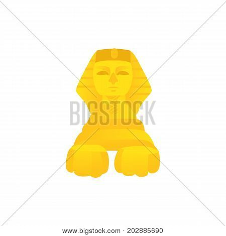 Stylized statue of sphinx, symbol of Egypt culture, front view flat cartoon vector illustration isolated on white background. Flat style Egypt statue of sphinx, traditional place of attraction