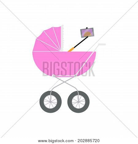 Newborn baby doing selfie with phone and monopod right out of the pram, carriage, cartoon vector illustration isolated on white background. Baby making selfie in the pram, modern lifestyle concept