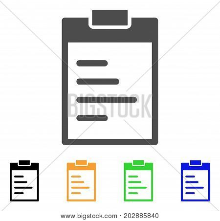 Inventory Pad vector pictogram. Style is a flat graphic symbol in grey, black, yellow, blue, green color versions. Designed for web and mobile apps.