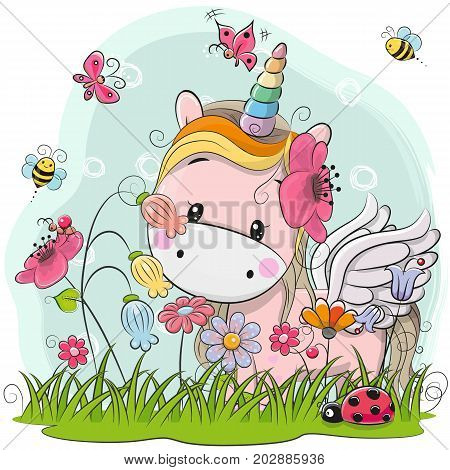Cute Cartoon Kitt Unicorn on a meadow with flowers and butterflies