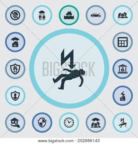 Elements Protect Yourself, Health Guarantees, Chronometr And Other Synonyms Family, Protect And Banking.  Vector Illustration Set Of Simple Insurance Icons.