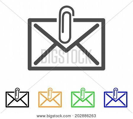 Mail Attachment vector pictogram. Style is a flat graphic symbol in grey, black, yellow, blue, green color versions. Designed for web and mobile apps.