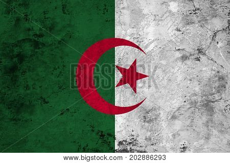 Flag of the Algerian against the background of the stone texture