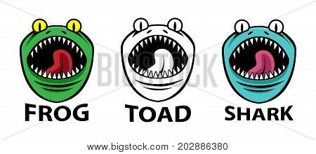 Angry Frog Toad and shark mascots vector design
