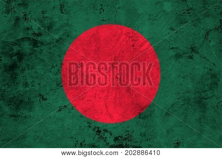 Flag of the Bangladesh against the background of the stone texture