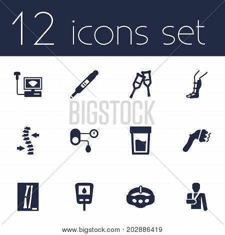Collection Of Injury, Diabet, Hypertension And Other Elements.  Set Of 12 Healthy Icons Set.