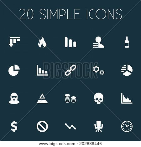 Elements Cv, Chips Stack, Circular Diagram And Other Synonyms Growth, Resume And Economy.  Vector Illustration Set Of Simple Situation Icons.