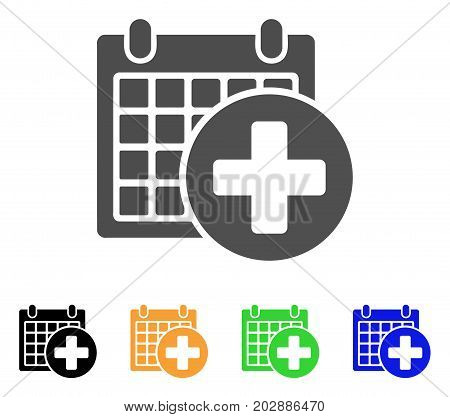 Medical Appointment vector pictograph. Style is a flat graphic symbol in gray, black, yellow, blue, green color variants. Designed for web and mobile apps.
