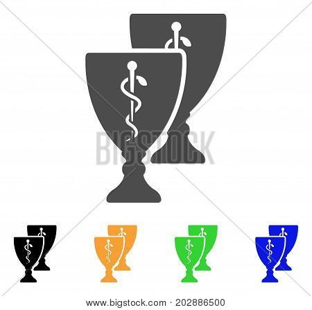 Medical Award Cups vector pictogram. Style is a flat graphic symbol in gray, black, yellow, blue, green color variants. Designed for web and mobile apps.