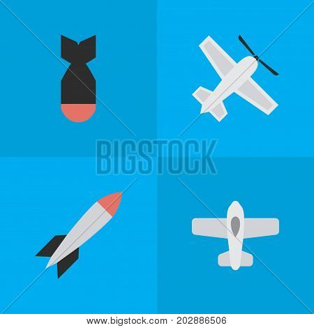 Elements Bomb, Craft, Rocket And Other Synonyms Bomb, Airplane And Aircraft.  Vector Illustration Set Of Simple Aircraft Icons.