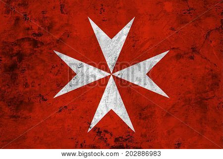 Flag of the Malta against the background of the stone texture