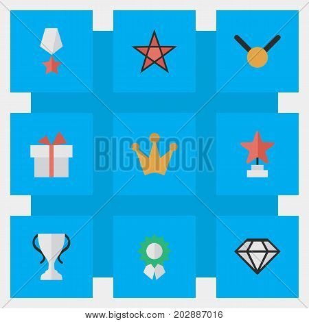 Elements Reward, Present, Medal And Other Synonyms First, Goblet And Coronet.  Vector Illustration Set Of Simple Champion Icons.